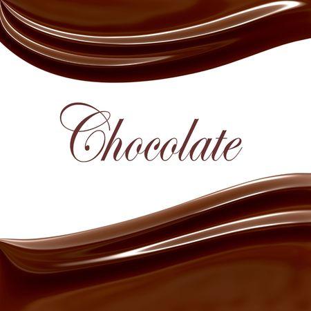 Chocolade Swirls op wit kopieer ruimte  Stockfoto