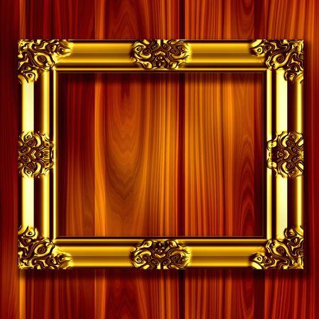 Gold Frame On Wood