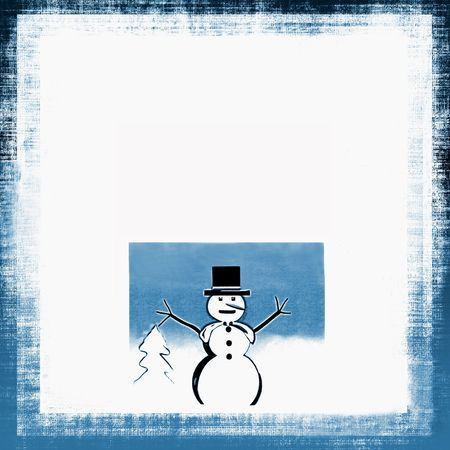 Christmas Snowman Grunge And Border Frame In Winter White And Blue Foto de archivo