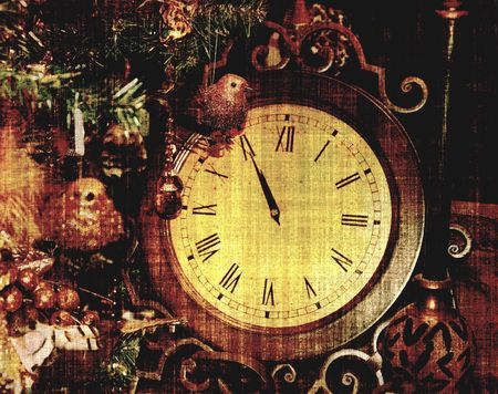 wood tick: Vintage Clock, Almost Midnight Grunge For New Year  Stock Photo