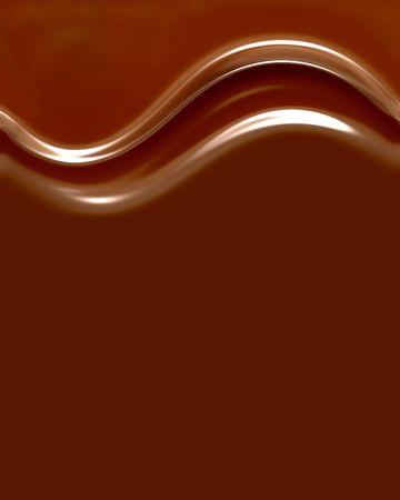 Met vloeiend kopiëren ruimte rijke, Creamy, Delicious Chocolate krullen   Stockfoto