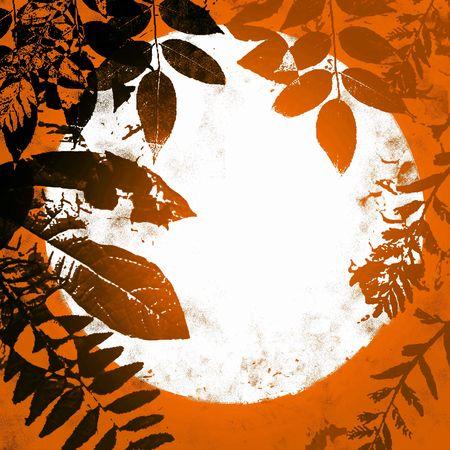 halloween background: Autumn Halloween Grunge Leaves Background