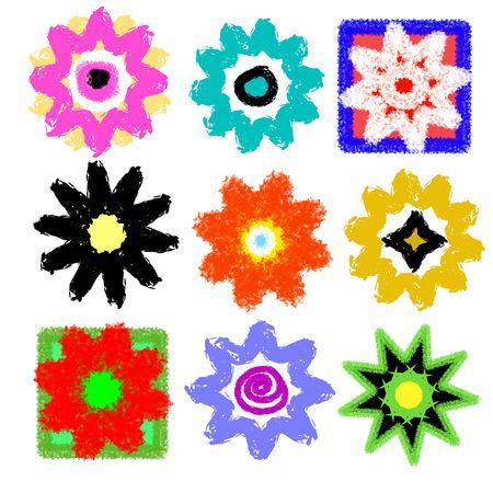 Grunge Flower Power Set, High Resolution  photo