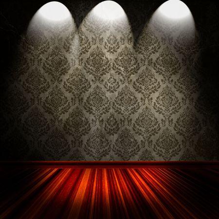Vintage Room With Spotlights On Damask Wallpaper  Archivio Fotografico