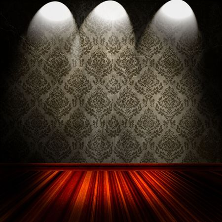 Vintage Room With Spotlights On Damask Wallpaper  Stock Photo