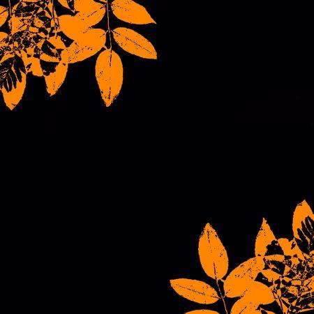 halloween background: Autumn Grunge Leaves Border