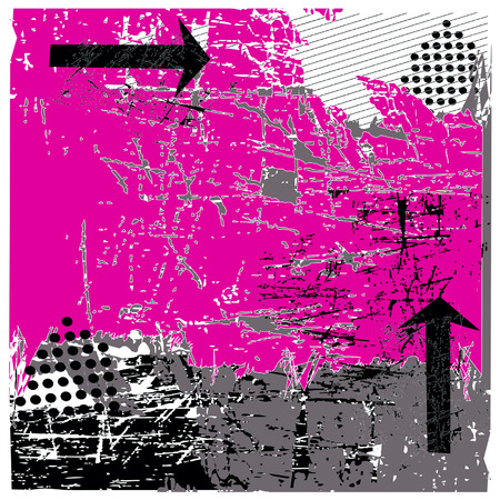 Hot Pink Vector Urban Grunge Con Black Arrows ILLUSTRAZIONE Vettoriali
