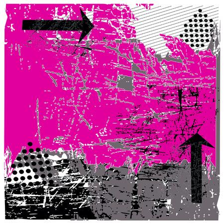 urban grunge: Hot Pink Vector Urban Grunge With Black Arrows Illustration Illustration
