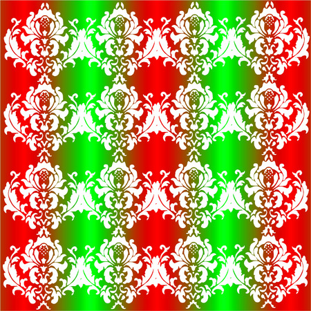 Vector Seamless Damask Pattern In Christmas Colors Of Red, Green And White Vector
