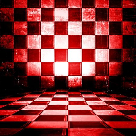 Red And White Checkered Grunge Room  photo