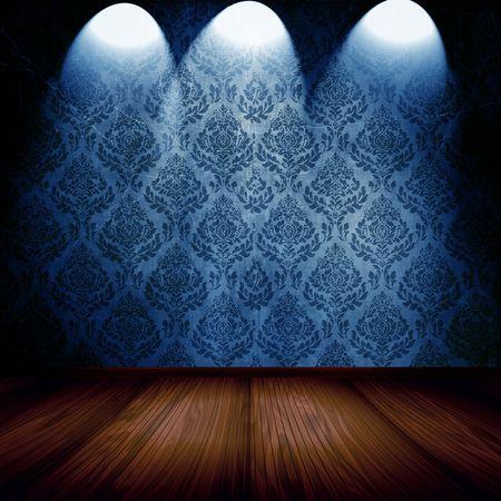 Vintage Room With Spotlights On Blue Damask Wallpaper
