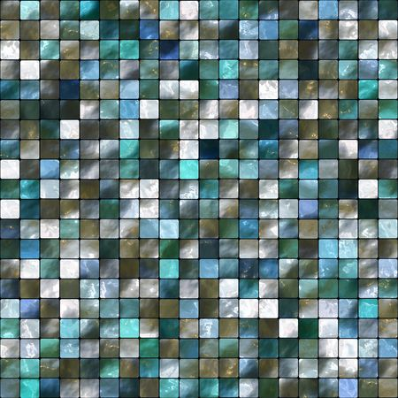 Seamless Blue, Green, Brown, And White Tiles Background