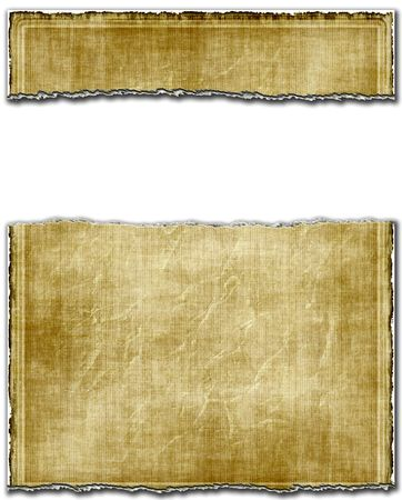 uneven edge: Old Light Ripped Torn Paper With White Banner Copy Space Stock Photo