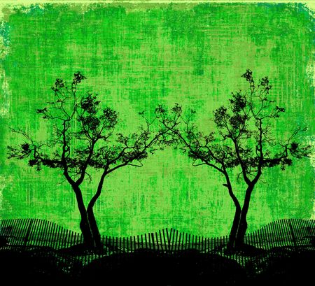 Trees Silhouette On Fabric photo