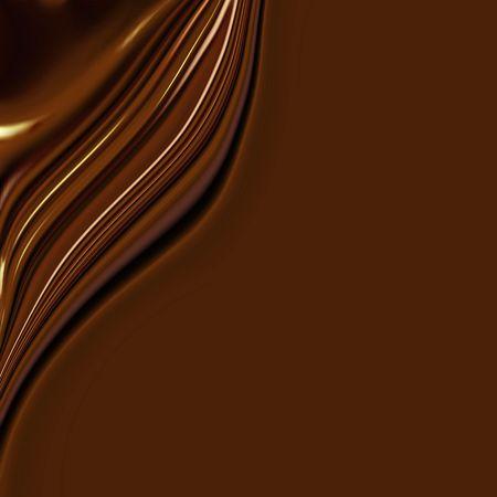 Golven van zijdeachtige zoete chocolade met gladde kopiëren ruimte   Stockfoto