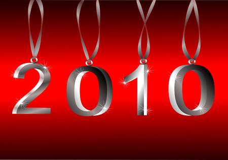 2010 Silver Hanging 3d Ornament Numbers On Red Gradient Background Illusztráció
