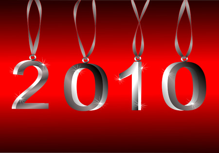 2010 Silver Hanging 3d Ornament Numbers On Red Gradient Background Vettoriali