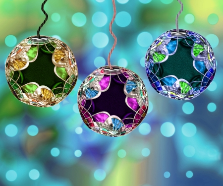 string of christmas lights: Three Beautiful And Detailed Christmas Ornaments With Holiday Lights Background