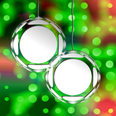 Empty Christmas Ornament Frames On Holiday Lights Background Ready For Your Photos Or Text   photo