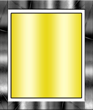paper textures: Metal Frame Border With Smooth Yellow Copy Space