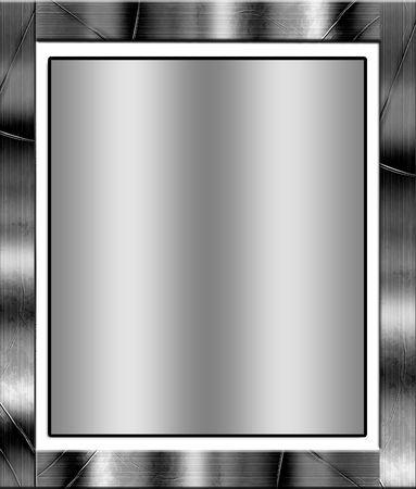 marco blanco y negro: Metal frontera de marco, con espacio de copia de metal suave
