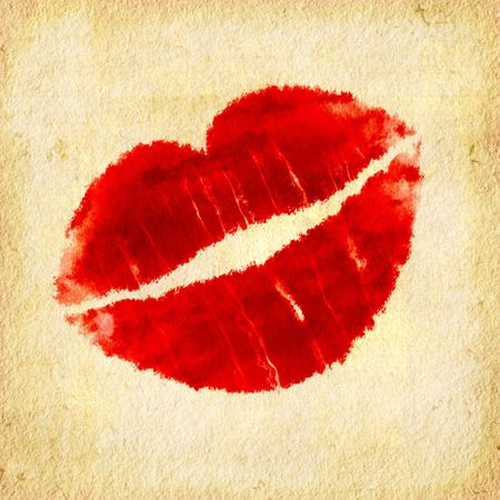 lipstick kiss: Red Lips Illustration On Textured Paper