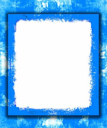 Blue Painted Border Frame Grunge With White Copy Space Archivio Fotografico