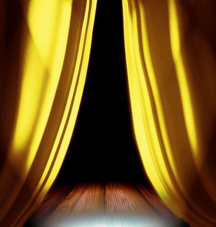 home theater: Gold Drapes On Stage
