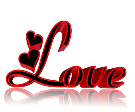 3d Word Love With Hearts In Red And Black On White Background