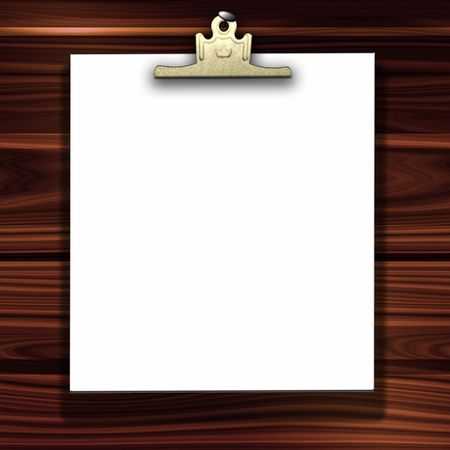 nailed: Blank White Paper And Gold Clip Hanging On Wood Background