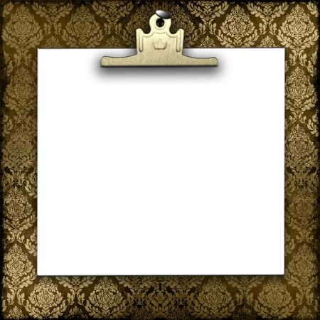 Blank White Paper And Gold Clip Hanging On Damask Background