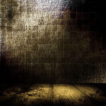 Brick Wall Grunge Room In Brown Tones Archivio Fotografico
