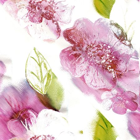 Seamless Floral Art Abstract In Pinks, Green, And White