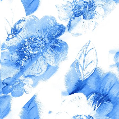 Seamless Floral Art Abstract In Blue And White Archivio Fotografico