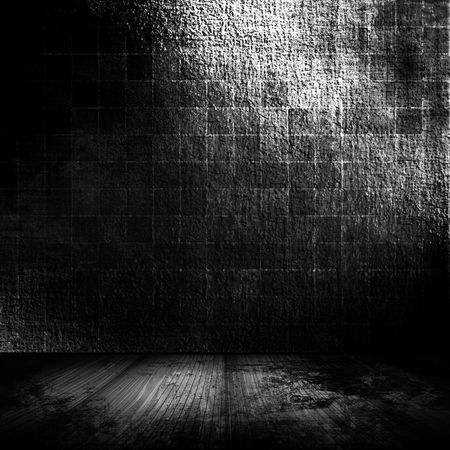 dungeon: Brick Wall Grunge Room In Black Tones