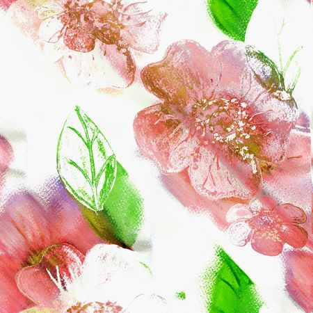 Seamless Floral Art Abstract In Pinks, Green, And White photo