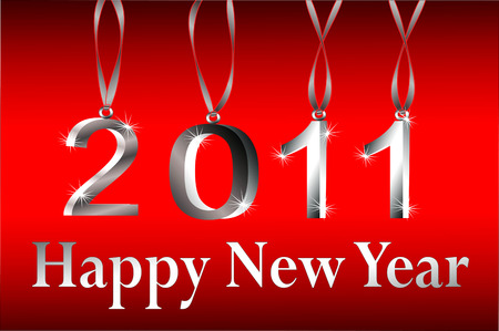 two thousand: 2011 Vector Silver Happy New Year And Hanging 3d Silver Ornament Numbers On Red Gradient Background
