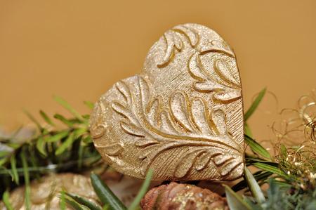gold christmas heart, advent wreath photo