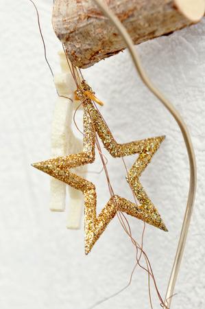 jahreswechsel: gold Christmas star, hang up