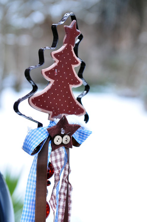 jahreswechsel: christmas tree decoration with snow