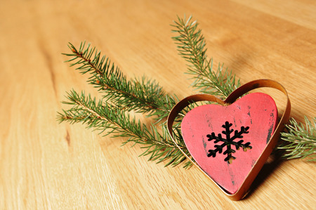 christmas decoration with timber background photo