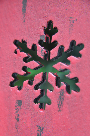 frohe: detail of red christmas decoration, snowflake