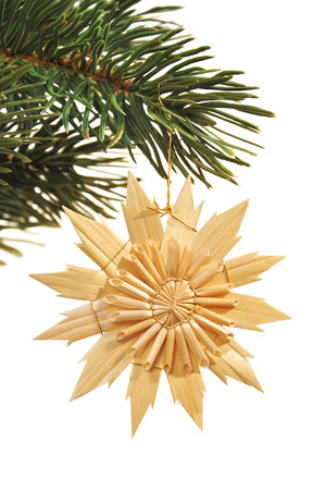 weihnachtsbaum: hang up christmas decoration Stock Photo