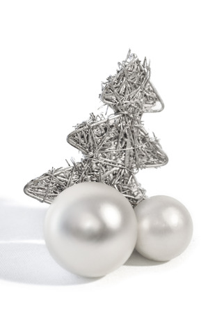 kugel: silver christmas decoration with white background Stock Photo