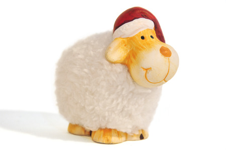 jahreswechsel: christmas sheep on white background  Stock Photo