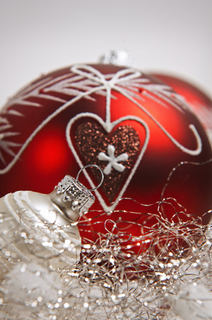 jahreswechsel: red christmas balls on white background