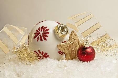 jahreswechsel: red and golden christmas decoration
