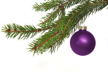 jahreswechsel: fir branch with Christmas ball