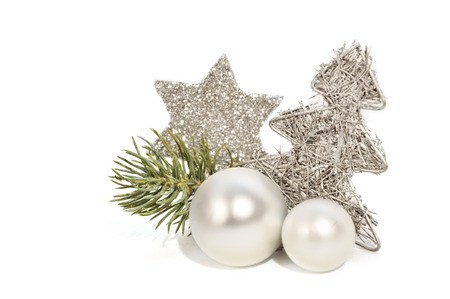 silver christmas decoration with white background 版權商用圖片