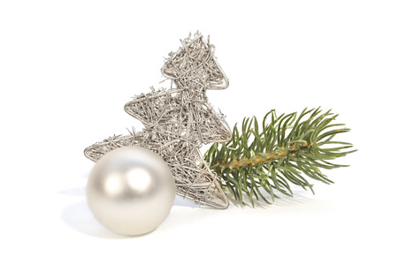 weihnachtsbaum: silver christmas decoration with white background Stock Photo